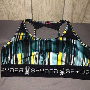 Spyder Brayzen Sports Bra Frozen Stripe Size S